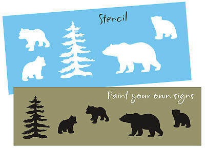 STENCIL Rustic Momma Bear Cubs Lodge Tree Mountain Cabin Outdoor decor signs