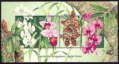 Orchids High Values minisheet ,Joint Issue with Singapore (1998). Superb MNH