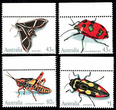 Insects '91; Moth, Bug, Grasshopper, Beetle. Clean set of 4 MNH • FREE POSTAGE •