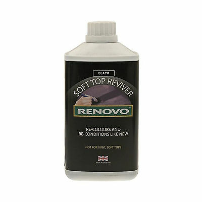 1x Renovo Black Soft Top Reviver Revives Tired & Faded Convertible Fabric 500ml