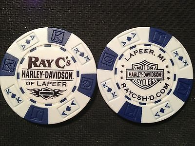 "Harley Davidson Poker Chip (White & Blue) ""Ray C's H-D"" Lapeer, Michigan"