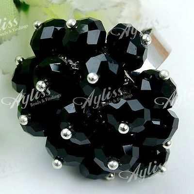 Fashion Women Black Crystal Glass Faceted Bead Adjustable Flower Finger Ring
