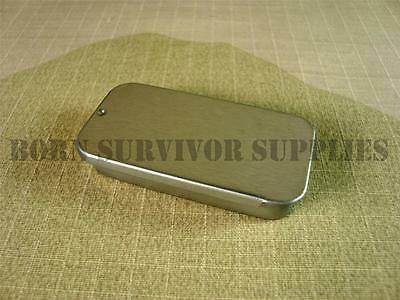 MINI SLIDE LID TIN Silver Small Slip Empty Plain Metal Storage Bit Survival Box