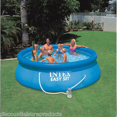 """Intex 8ft x 30"""" Deep Easy Set Inflatable Above Ground Swimming Pool Pump #28112"""