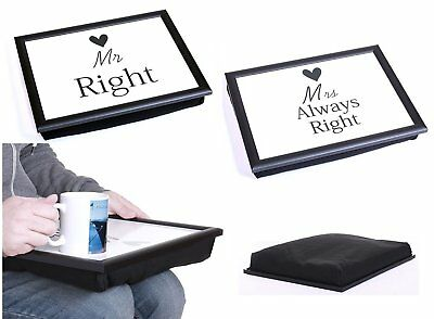 Mr Right & Mrs Always Right Bean Bag Padded Cushion Lap Tray Or Mugs Set Serving