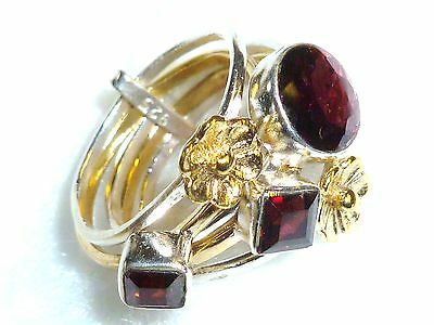 Granat rot facettiert Ring  925 Sterling Silber Gr.17,2 *18x19mm*  5 Ringe