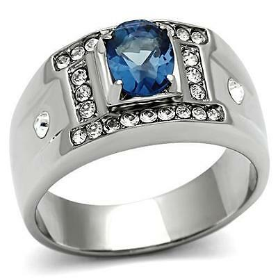 Men's Stainless Steel Oval Dark Blue Montana Sapphire CZ Clear Accents Ring