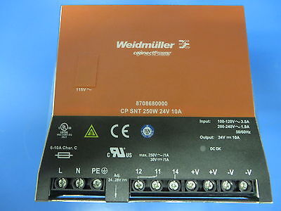 Weidmuller 8708680000 Power Supply 250W 24V 10A Input 100-120V Din-Rail