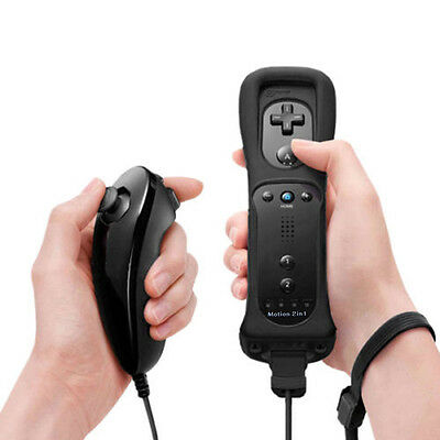 Black Built in Motion Plus Remote Controller And Nunchuck for Nintendo Wii U