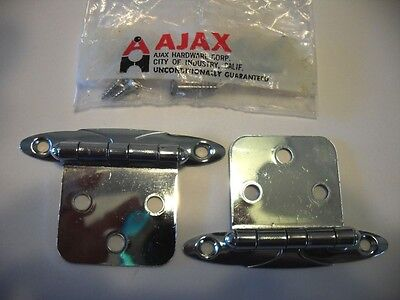 Vintage NOS CHROME Cabinet Door HINGES Flush Mount Art Deco Scrolled Design Ajax