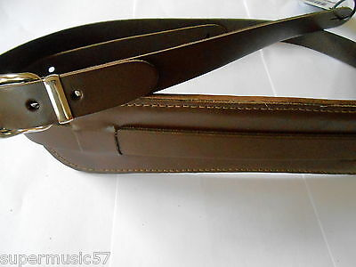 Uk Made Brown Padded Real Leather Electric/acoustic Vintage Style Guitar Strap