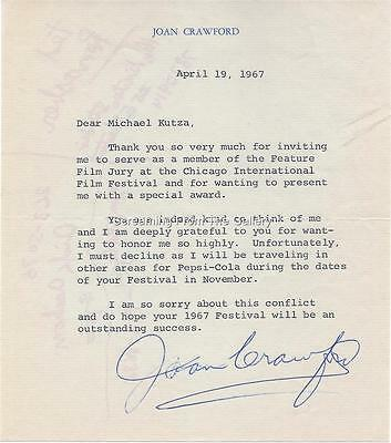 Joan Crawford Hand  Signed   Letter Autographed 1967 Hollywood Legend