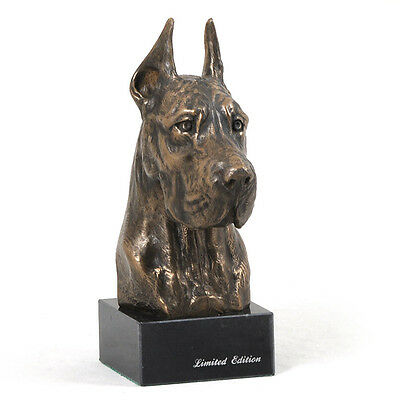 Dogue allemand, Great Dane(cropped),statuette sur marbre, bronze, chien, Art Dog