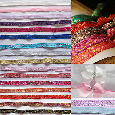 ♕2 Metres 15mm Soft Glitter Foldover Elastic for headbands Hair Accessories♕