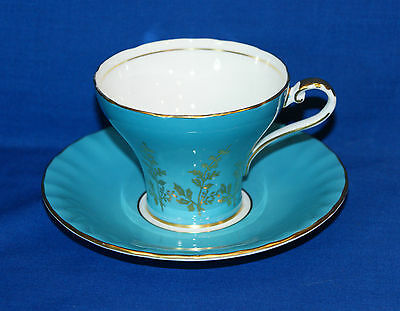 ♥ Aynsley Bone China Turquoise Aqua Footed Teacup & Saucer Duo ♥ Pattern 1467