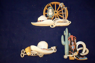 Set 3 Plastic Western Wall Decor Vintage Burwood Ent. Made In Usa