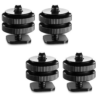 "4x 1/4"" Mount Adapter for Tripod Screw To Flash Hot Shoe Black"