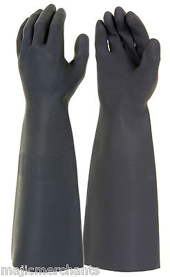 """Black Latex Gauntlets 18"""" Gloves Industrial Long Sleeve Natural Rubber PPE CAT3"""