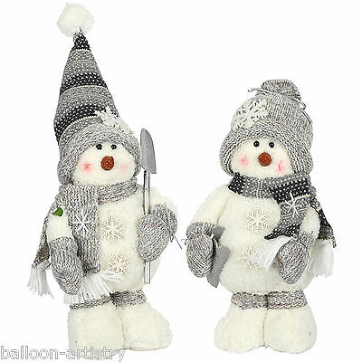 30cm Cute Christmas Party Grey Winter Standing Snowman Figure Toy Decoration