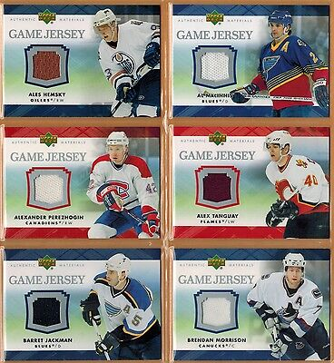 2007-08 , UPPER DECK , SERIES 1&2 , GAME JERSEY , PICK FROM DROP-DOWN LIST
