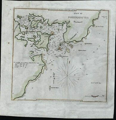 Portsmouth Harbor New Hampshire Newcastle 1841 antique nautical hand color map