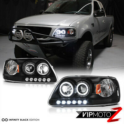 1997-2003 Ford F150 Lobo Black Halo LED DRL Projector Headlight 97-02 Expedition