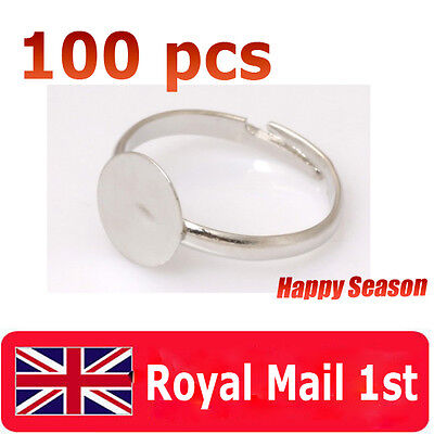 100 8mm Silver Plated Adjustable Flat Ring Pad Bases Blanks - children size