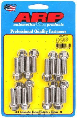 """ARP Header Bolts Hex Head 3/8"""" Wrench Stainless 3/8""""-16 1.000"""" U.H.L. SetOf16"""