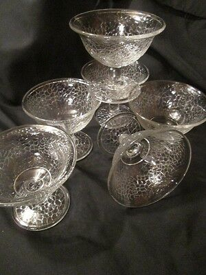 6 ICE CREAM SHERBET PUDDING FRUIT DISHES LE SMITH BY CRACKY DEPRESSION GLASS