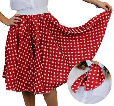 Red Polka Dot Skirt With White Spots & Scarf 1950S Rock And Roll Fancy Dress