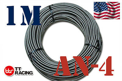 "1/4"" Stainless Steel Teflon Braided -4An An4 4-An Oil Fuel Line Hose 1 M 3.3Ft"