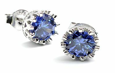 TANZANITE 6mm (1ct each} CROWN STUD EARRINGS.925 STERLING SILVER (View Video)