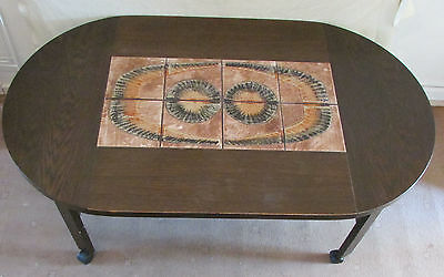 vintage coffee table danish retro LARGE 1970s 70s tiled topped