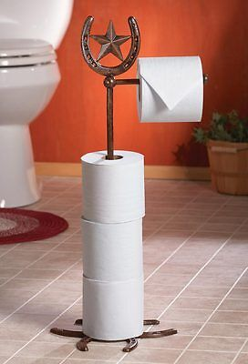 Collections Etc Western Horseshoe Spur Toilet Paper Standing Holder