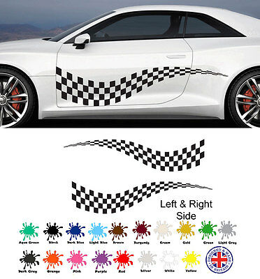 chequered FLAG VINYL STICKERS race car van camper decal can be for boys wallart