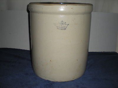 Vintage Blue Crown Stoneware Crock-6 Gallon-Great Condition For It'S Age
