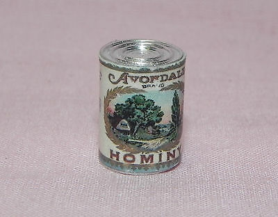Dollhouse Miniature Hominy Can Vintage Label   Hudson River 1:12 Scale