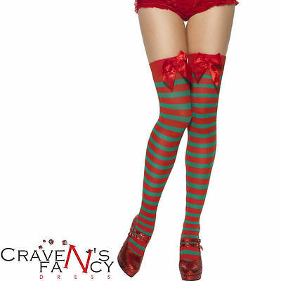 Elf Stockings Red & Green Santas Grotto Thigh High Stripey Christmas Fancy Dress