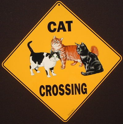 CAT CROSSING Sign print picture cats art decor signs painting home wildlife