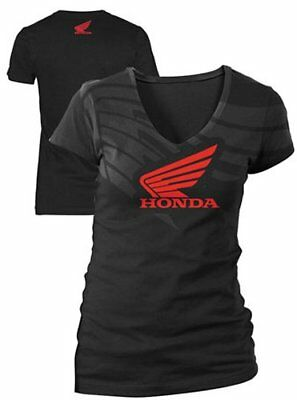 Honda Womens Abstract Wing V-Neck T-Shirt Black M/Medium
