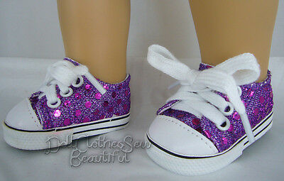 "Purple Sequin Sneakers Gym Shoes made for 18"" American Girl Doll Clothes"