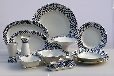 Dinner set 6 people/33 pcs COBALT NET Lomonosov Imperial Porcelain RUSSIA, New
