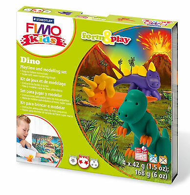 New FIMO Kids Form & Play Set Dino Modelling Jewellery Craft Art Fun