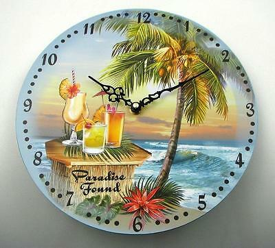 Tropical Island Caribbean Sea Ocean View Cocktail Drink Wall Picture Hand Clock