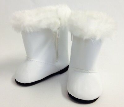 "White Boot with Fur Trim Shoes made for 18"" American Girl Doll Clothes"