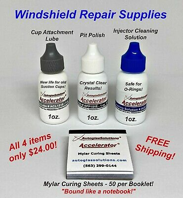 Windshield Repair Supplies for Auto Glass Rock Chip Crack Resin Repair Kit