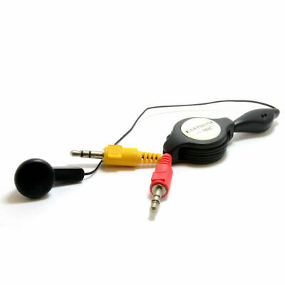 1m Ear Piece with Microphone to 2 x 3.5mm Jacks Retractable Cable [007319]