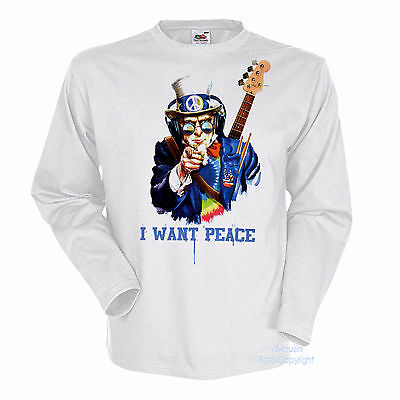 * Rock n`Roll Peace Batik Hippie Gitarren T-Shirt *2088 LS