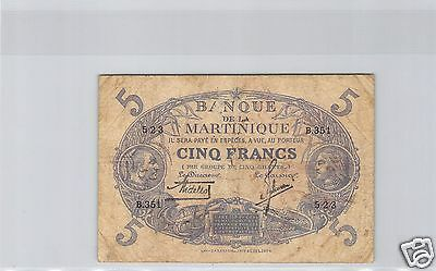 Woman Seated With Fruits Martinique 25 Francs Nd1943 Serial E12