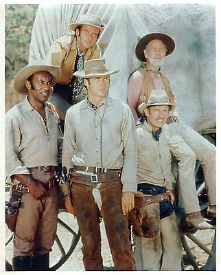 Rawhide Clint Eastwood As Rowdy Yates With Cast Members Rare Photo